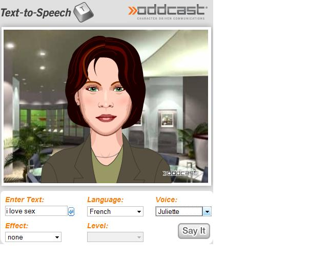 Synthetiseur de voix - OddCast.com et avatar 3d intelligent