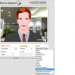 Synthetiseur de voix – OddCast.com et avatar 3d intelligent