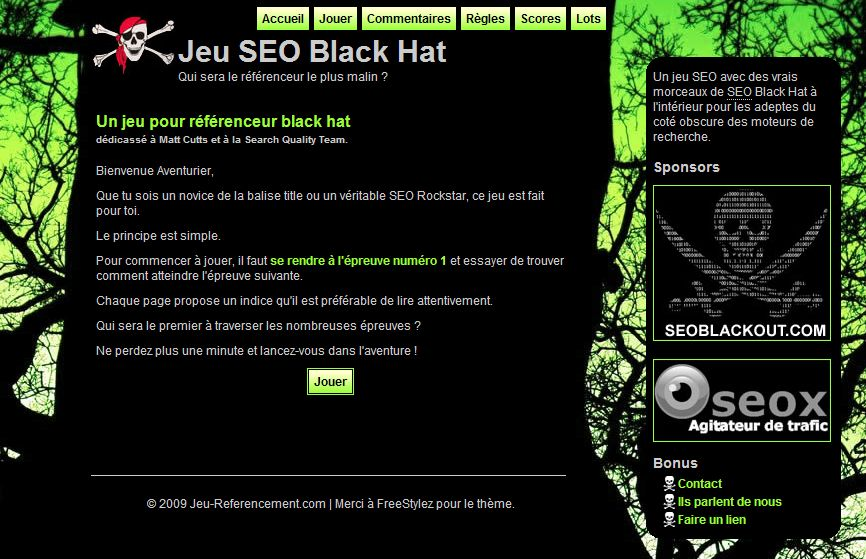Jeu Referencement SEO Black Hat